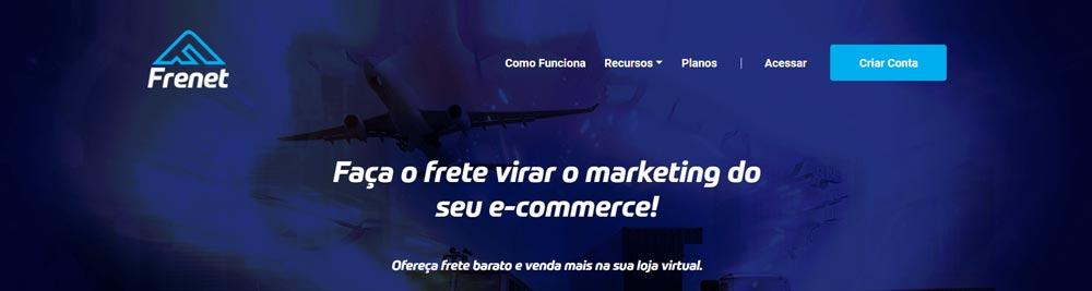 """Home da Frenet com a frase """"faça o frete virar o marketing do seu e-commerce"""""""