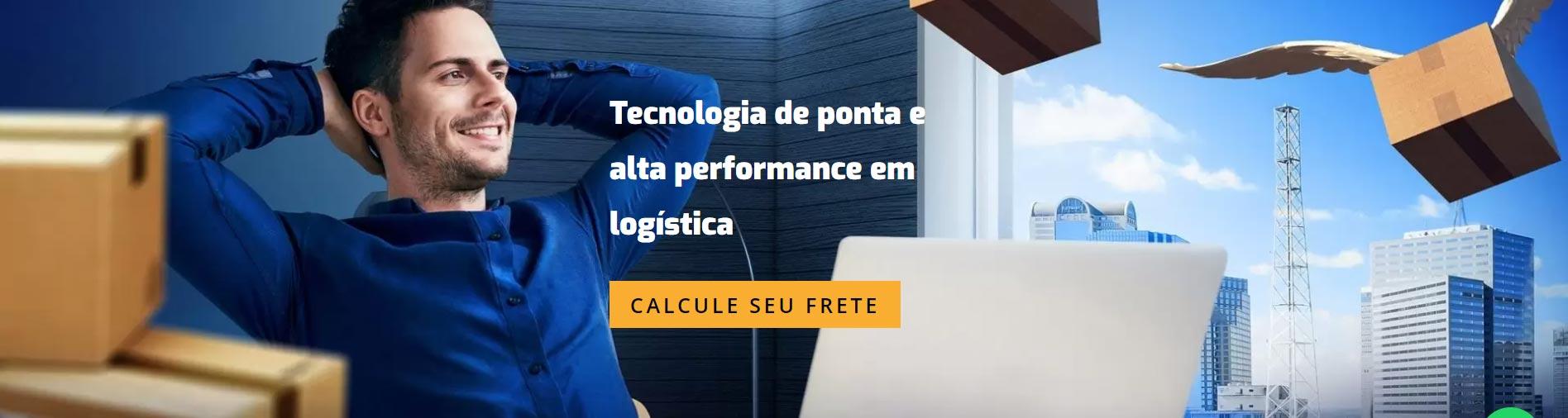 """Site da Frete Click com a frase """"tecnologia de ponta e alta performance em logística"""""""