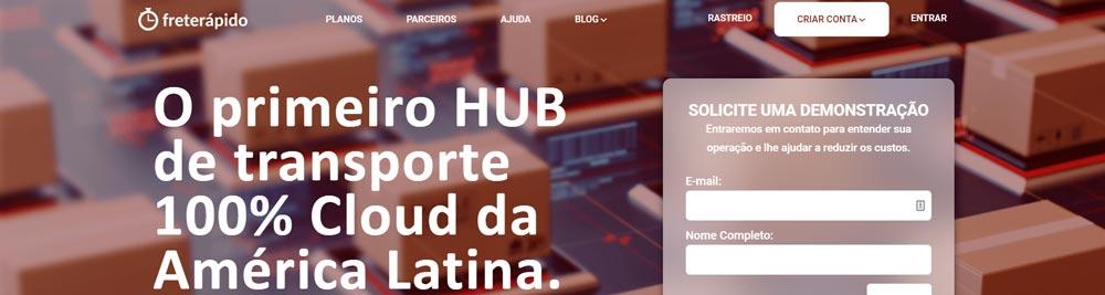 """Site da Frete Rápido com a frase """"O primeiro HUB de transporte cloud da América Latina"""""""