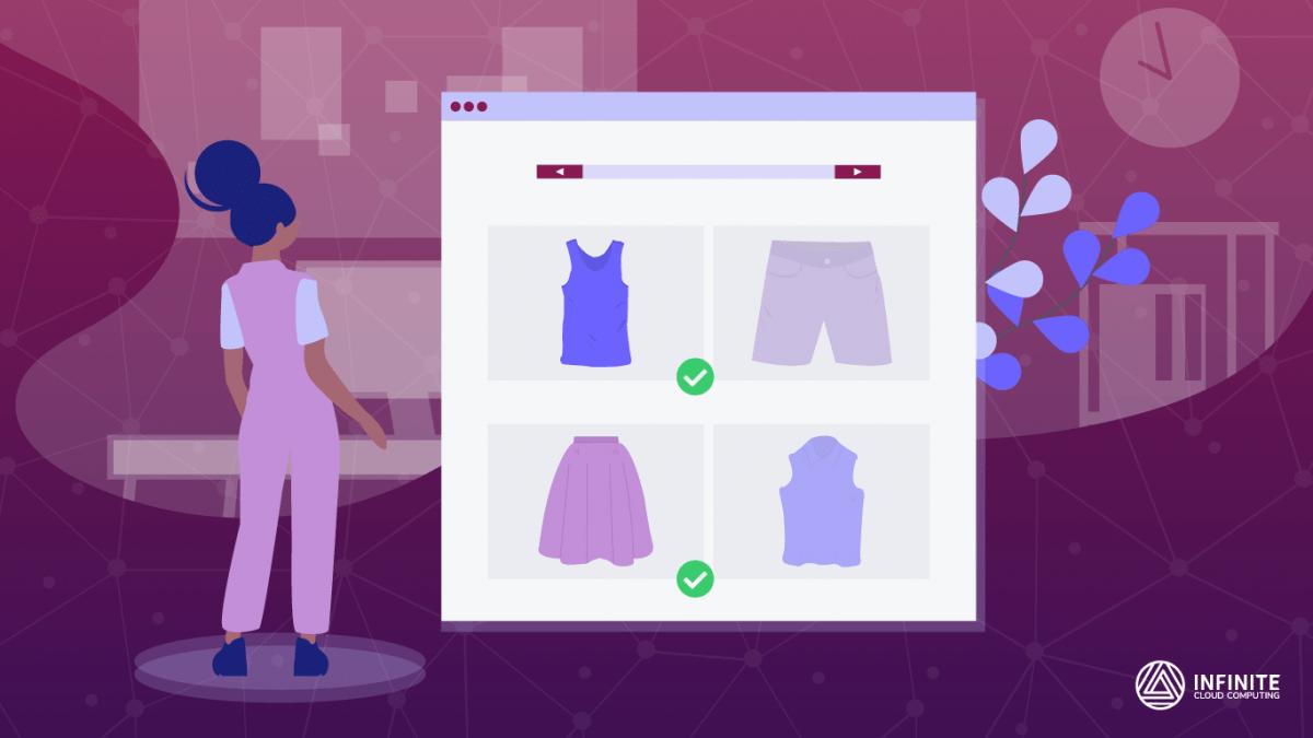 Garota observando uma tela gigante onde aparece uma loja virtual com várias roupas