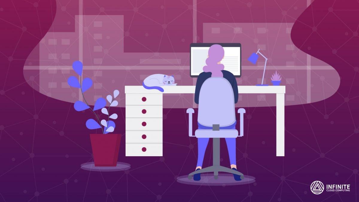 Ilustração de uma mulher trabalhando em um computador sobre o background roxo com network da Infinite