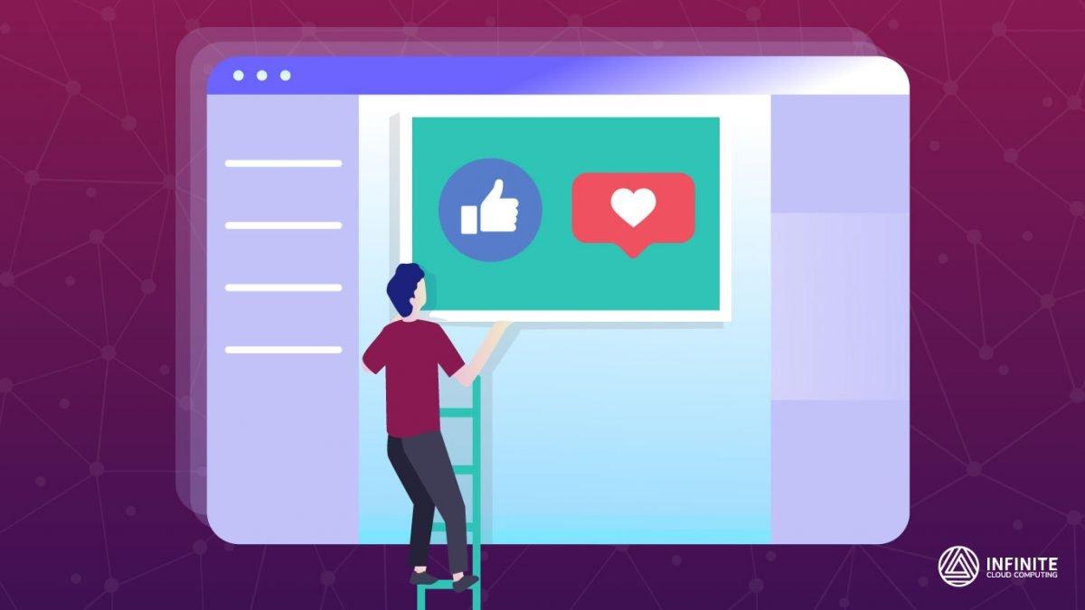 Homem sobre uma escada na qual ele ajusta um quadro em uma tela de computador gigante onde há um like e um coração de Instagram.