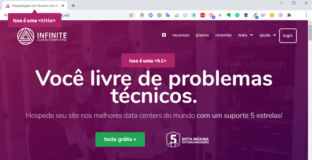 Print do site da Infinite mostrando a <title> (na aba do navegador) e a <h1> no meio da página.