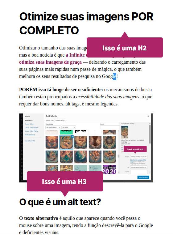 """Print desse próprio post mostrando a H2 """"otimizar imagens por completo"""" e a H3 """"utilizar alt texts"""""""